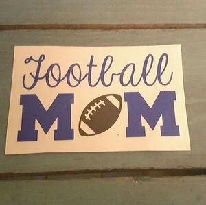 3x4 Blue Football Mom Car Decal